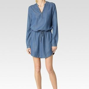 PAIGE Quianna Lyocell Denim Drawstring Shirt Dress